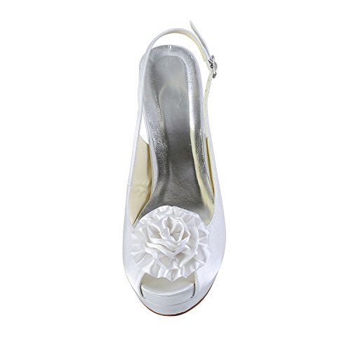 JIA JIA Scarpe da Sposa da Donna 4092A Peep Toe Tacco a Spillo Fiore di Raso Macchia Sandali della Piattaforma Sling Indietro Scarpe da Sposa Bianco