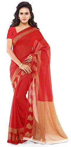 Anand Sarees Georgette Saree with Blouse Piece (1168_2_Red_Free size)