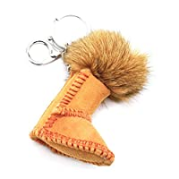 Oh My Shop PT1777E - Suede Effect Boot Keyring/Bag Charm with Beige Tassel
