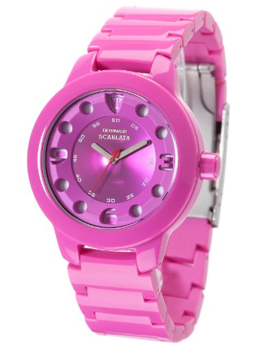 DETOMASO Ladies Watch Plastic Strap Quartz Mineral Glass SCARLATA Horn Acetate Ladies pink / pink DT3018-C