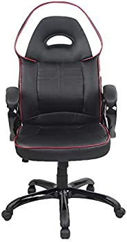 Racoor Video Gaming Chair, Black and White - H 126 cm x W 52.5 cm x D 51 cm
