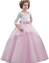 BaZhaHei Vestito da Principessa Bambina Carnevale Elegante Vestito da Sposa  per Bambina Abito Mini Moda Tutu Ragazza per Nozze… ec57b516367