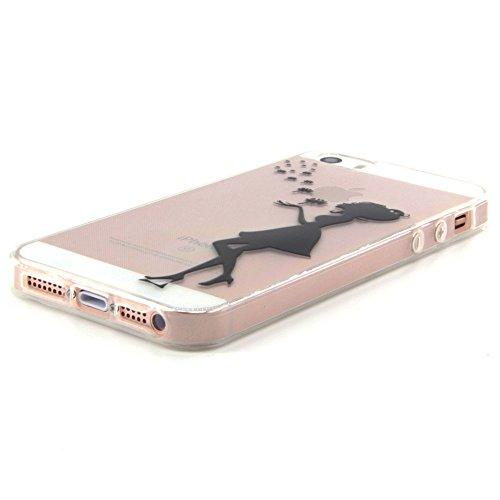 iPhone 5s Hülle Durchsichtig, LuckyW TPU Handyhülle für Apple iPhone 5/5S/SE Soft Silikon Tasche Transparent Schale Clear Klar Hanytasche Durchsichtig Rückschale Ultra Slim Thin Dünne Schutzhülle Weic Löwenzahn