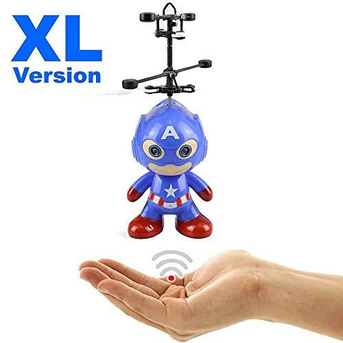 Hubschrauber Agent HERO XL (blau) - Astronaut - Super Hero mit hellen LED Augen!Einfach zu Steuern per Hand!Der Besteller 2019!Mini Drohne,Helicopter ()