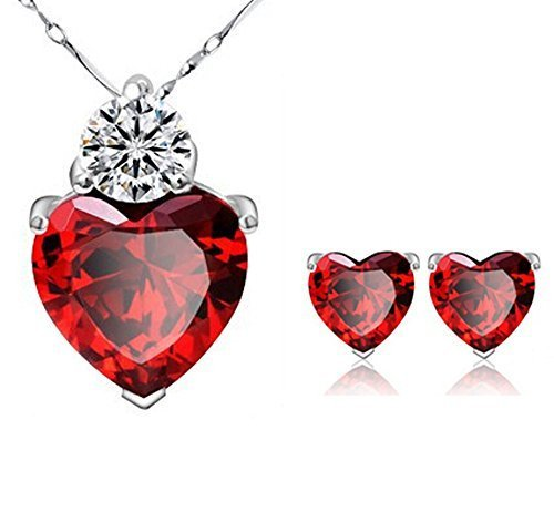 925-Silver-Plated-Red-Crystal-Heart-Pendant-and-Earring-Necklace-Set-With-Chain-For-Women-By-JewelQueen