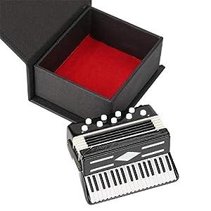 HEEPDD Miniatur Akkordeon Modell Display Mini Musikinstrumente Dekoration mit Verpackung Box für Home Office Desktop dekorative Accessoires