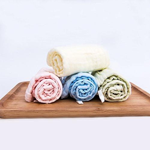 Binztec Baby Spucktücher aus 100 % Baumwolle im 40✖40cm 4er- Pack mit 4 Farben( Rosa, Gelb, Grün und Blau)