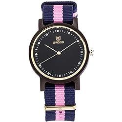 Women Nylon Band Casual Design Slim Unique Black Sandalwood Wood Watch