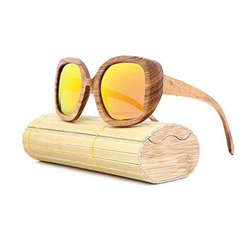 Yiph-Sunglass Sonnenbrillen Mode Feind Männer und Frauen Brille aus Holz polarisierte Retro-All-Holz großen Rahmen Sonnenbrillen (Color : Rot, Size : Kostenlos)