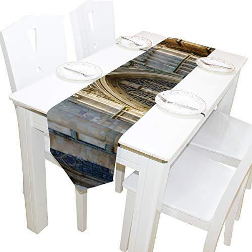 Yushg Romantik Gotik Architektur Kirche Kommode Schal Stoffbezug Tischläufer Tischdecke Tischset Küche Esszimmer Wohnzimmer Home Hochzeitsbankett Dekor Indoor 13x90 Zoll -