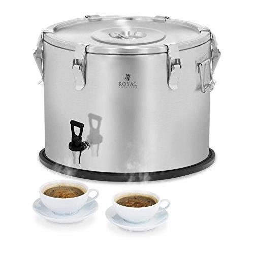 Royal Catering Contenedor Isotérmico Termo para Alimentos RCTP50A (50 L, Mantenimiento del calor de 6–8 h, Llave de drenaje) Acero Inoxidable
