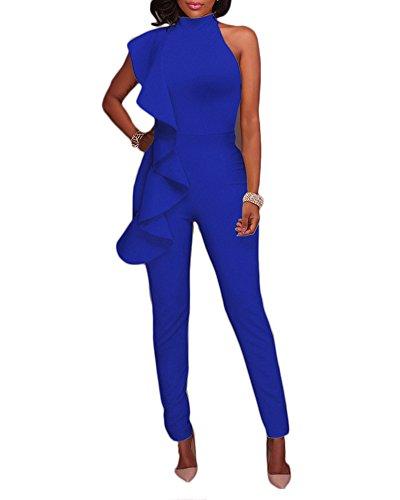 Damen Ärmellos Jumpsuit Rüschen Lang Hosenanzug Overalls Party Festlich  Blau S b3591f7755