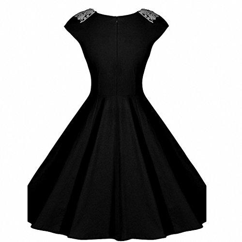 Femmes Chic Dentelle Robes Sans Manches Swing Retro Cocktail Robe de Soirée Noir