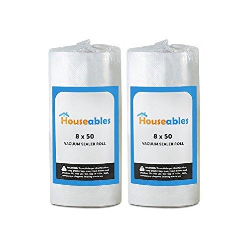 Emballage sous vide Rouleaux, sous vide Sacs, deux (2), L 20,3cm X 15,2m, qualité commerciale, plastique, aliments, Vac et joint de stockage, hermétique Vacuumsealer Saver, passe au micro-ondes et au congélateur, DE stocker un repas