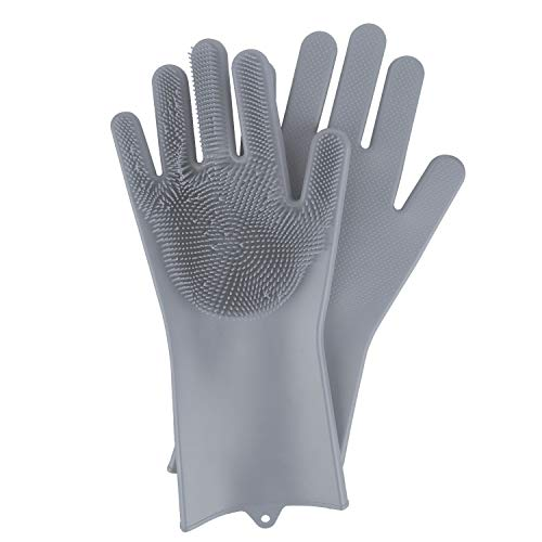 BEAUTLOHAS. Silikon Handschuhe mit wash Scrubber BPA-Frei umweltfreundlich Waschhandschuh Hitzebeständige Spülhandschuhe Reinigungsbürste für Küche, Bad, Tierpflege, Autowäsche, Haushalt(grau)