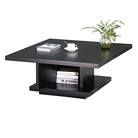 tinkertonk Modern Wood Square Coffee Table with Center Post Storage Cabinet for Living Room
