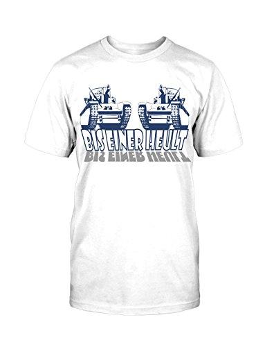 Panzer T-Shirt Neu Funny Fun Army Armee Tiger Ironie Kult Retro Old School Krieg Weiß