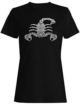 Mano dibujada escorpión de fondo camiseta de las mujeres g622f