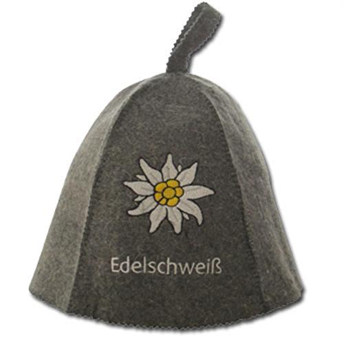 "Saunahut bestickt ""Edelschweiß"" - 100% Wollfilz - Saunakappe Filzkappe Sauna Hut - geprüfte Qualität !"
