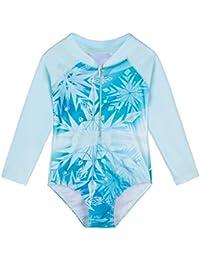 HUAANIUE - Traje de baño de una pieza con flores de manga larga UPF 50+ UV con cremallera 4-11Y ropa de natación, Infantil, S281, Copo de nieve., 4-5Y(Tag No 104/110)