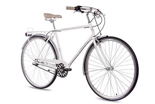 CHRISSON 28 Zoll Herren City Bike - Vintage City Gent Weiss - Old School Herrenfahrrad mit 3 Gang Shimano Nexus Nabenschaltung und Rücktrittbremse, Retro Cityfahrrad für Männer