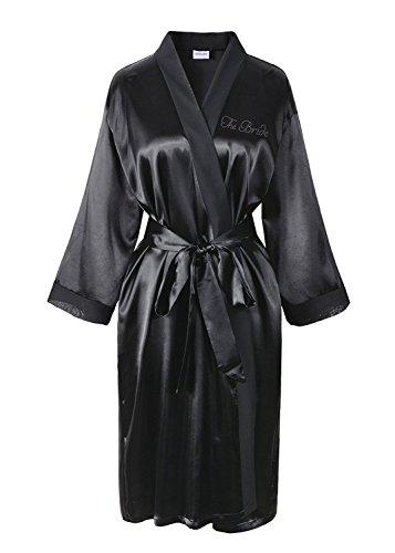 Elfenbein Varsany Hochzeitstag Strass Satin Die Braut Bademantel individueller Flitterwochen Morgenmantel schwarz