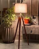 Nautical Home Decor Natural Teak Wooden Crafter Standard Size Tripod Floor Lamp with Jute Shade and Bulb Home Decors…