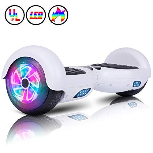 "Huanhui Hoverboard, 6,5\"" Elettrico Autobilanciato Glyboard, Self Blance Scooter 2 * 300W Motore Smart Self Balance Board, Luce a LED, Bianca"