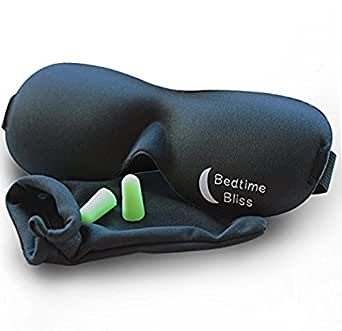 Eye Mask / Sleep Mask - Sleeping Masks for Men & Women - Bedtime Bliss Luxury Patented Contoured & Comfortable Sleep Mask & Ear Plug Set is the Blackout Eyemask it will Block Light but Wont Touch your eyes like other Eyemasks - Carry Pouch and Ear Plugs Included for FREE