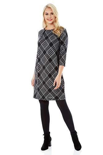 Roman Originals Damen Kariertes Kleid - Damen Shift-Kleider mit 3/4-Ärmeln, Knielang, für tagsüber, zum Ausgehen, für die Arbeit, fürs Büro, Business - Grau - Größe 40