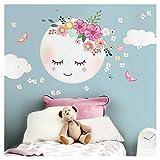 Little Deco Wandsticker Kinderzimmer Mädchen Mond & Wolken I XL - 52 x 52 cm (BxH) I Wandtattoo Babyzimmer selbstklebend Wandaufkleber Blumen Kinder DL270