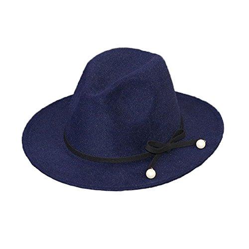 Chapeau Casquette Fédora Trilby Jazz Borsalino Vintage Rétro Feutre Femme Filles Hiver Perles bleu foncé