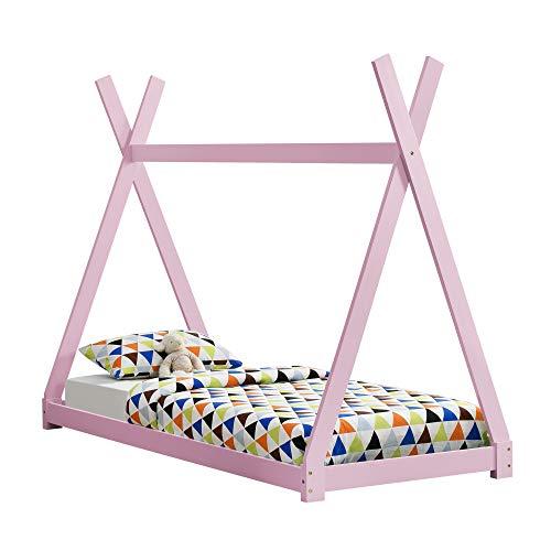 [en.casa]®] Cama para niños pequeños - Cama Infantil 200x90cm Estructura Tipi de...