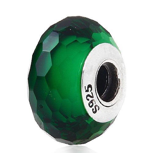 Charms sfaccettati autentici Verde Murano Perle di vetro per i monili delle donne di DIY che fanno il braccialetto adatto Pandora argento 925