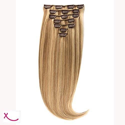 Extiff - Extensions cheveux naturel à clip - 50cm 160gr - (27/613 - Méché miel)
