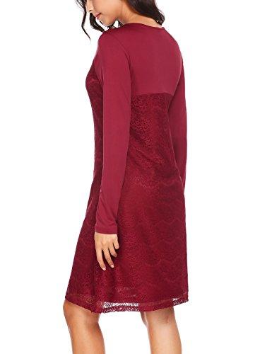 Finejo Damen Elegant Kleider Abendkleid Partykleid Langarm Kleid mit Spitzen Hochzeit Knielang Weinrot