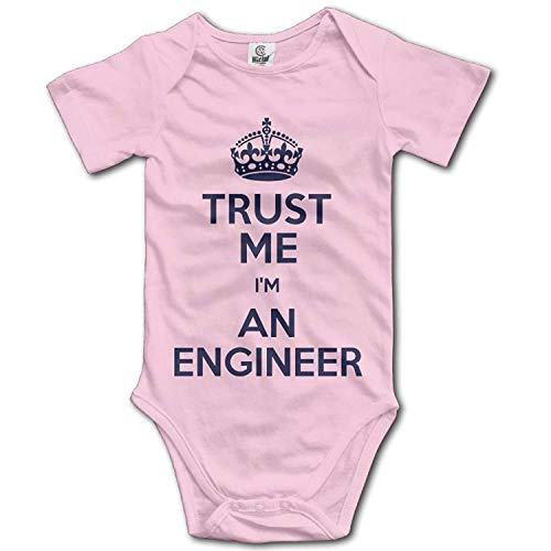 Unisex Baby's Climbing Clothes Set Trust Me I'm an Engineer Bodysuits Romper Short Sleeved Light Onesies for 0-24 Months,18M