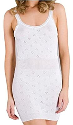 Ladies French Neck Thermal Vest. Longer Length By White Snowdrop