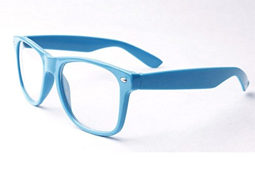Sky blau clear lens Wayfarer-Style Nerd Geek Retro Hipster Brille Fancy Rave Party Kleid