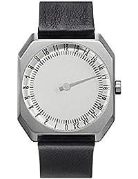 Slow Jo 05 - Reloj suizo unisex de 24 horas plateado, con suave correa de cuero negro