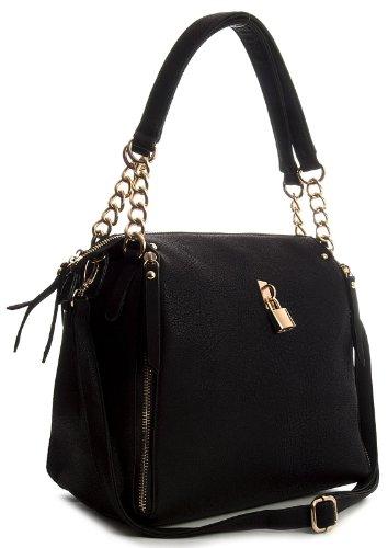 Big Handbag Shop Damen Ranzentasche mit Reißverschluss und Wickeleffekt schwarz