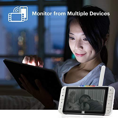 Kodak Cherish C525 Baby-Monitor mit Mobile App, WiFi-Kamera mit Pano/Schwenken/Zoomen, 5 Zoll HD-Display, hochauflösende Kamera, bidirektionales Audio, Nachtsicht