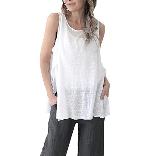 Supertong Damen Retro Shirt Sommer Einfarbig Rundhals Ärmellos Bluse T-Shirt Tank Tops Damen Oberteile Oversize Casual Unregelmäßige Tägliche Sommer Shirt Tanktop