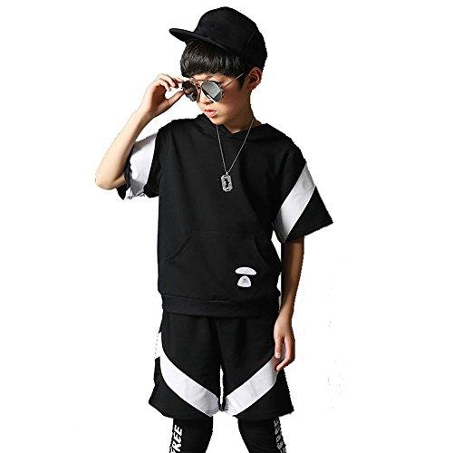 Byjia Hip Hop Jazz Tanz Kostüme Kinder Baumwolle Teen Jungen Mädchen Tragen Kinder Bühne Jugend Schule Spiel Party Chor Cheerleading Team Sport Boy (Boy Rumba Kostüm)