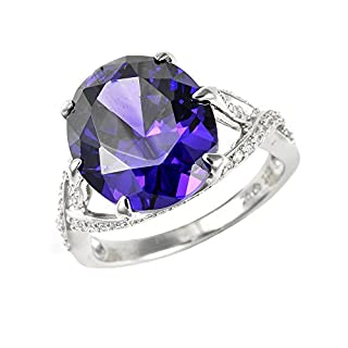 Ivy Gems Sterling Silver Purple and White Cubic Zirconia Ladies Dress Ring - Size S