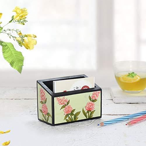 Visitenkartenetui aus Holz, Card Holder Display-Kartenetui mit Blumenmuster für Schreibtisch mit Einzelfach-Namen, Karten ständer, Organizer, Bürogebrauch und Geschenke -