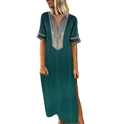 Langes Kleider Große Größen,Frauen Vintage Gedruckt Langarm V-Ausschnitt Maxi-Kleid Saum Baggy Kaftan Langes Kleid Maxikleid Strandkleider Tunika Kleid Etuikleid ()