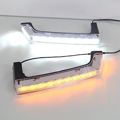 July King LED Feux de jour DRL DRL-J-Wrangler-08 pour Wrangler 2008-2015, Feu de stop avant à LED avec feu de signalisation jaune
