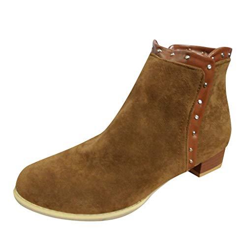 Lilicat Donna Stivali Tacco Basso Pelle Bassi alla Blocco Caviglia Stivaletti Leggero Elegante Festa Zip Scarpe Autunno Chelsea Ankle Boots(Marrone,39 EU)