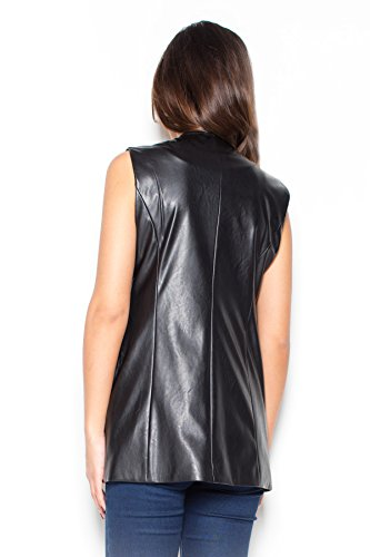 Katrus Gilet élégant en cuir sans attaches Noir